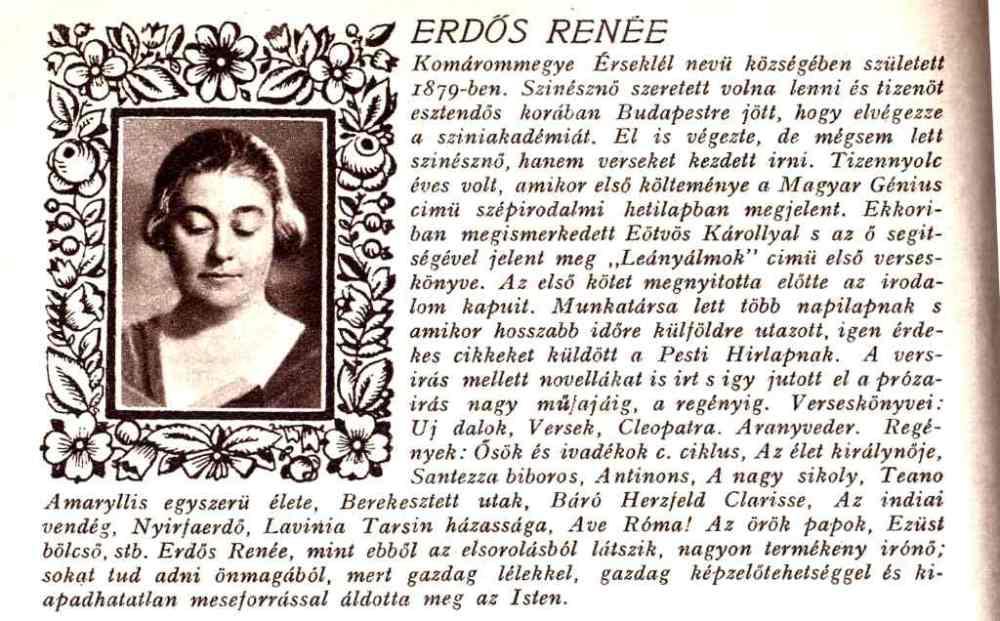Erdős Renée képe és életrajza a Pesti Hírlap 1935. évi Nagy Naptárában