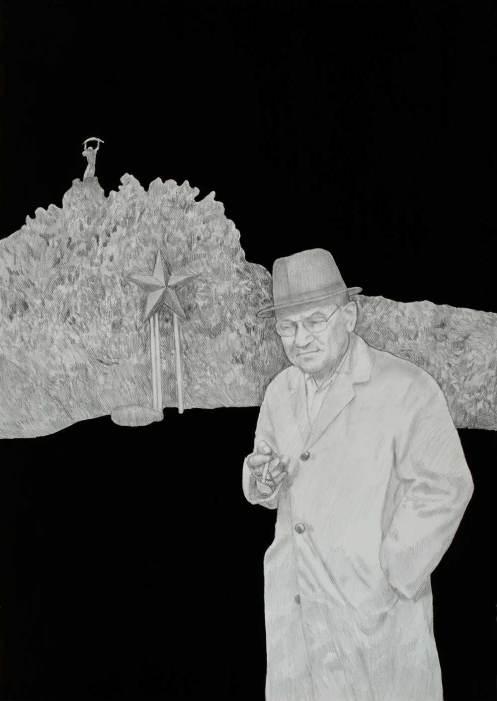 Fehér László: Daddy a hegyen. 2014. ceruza, tus, papír, 105X 75 cm