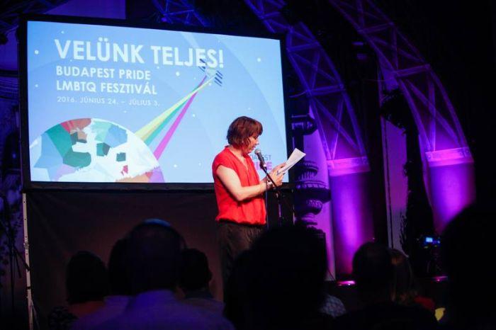 Kiss Tibor Noé pécsi író megnyitja a 21. Budapest Pride-ot 2016. június 24-én
