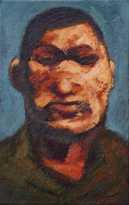 Földműves portré, 2010, 55x35, olaj, vászon
