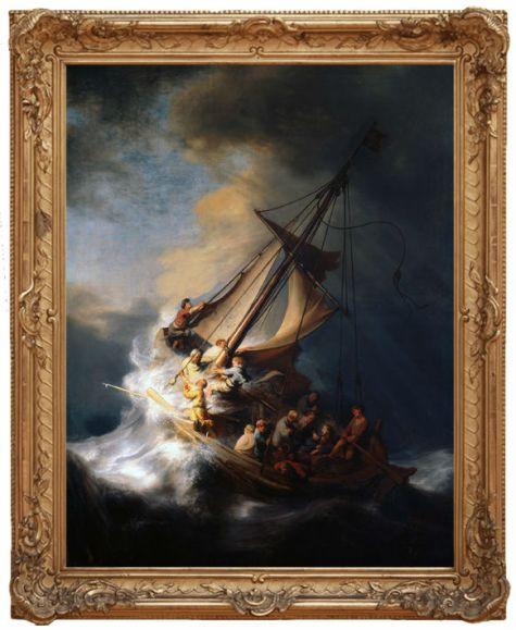 Rembrandt Krisztus a viharban a Galileai-tengeren