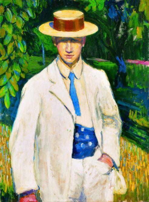 Dobrovits Péter Szalmakalapos férfi, 1910 körül