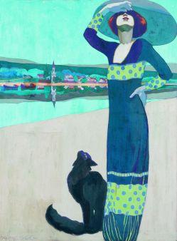 Faragó Géza Karcsú nő macskával (Tungsram-plakát terve), 1912