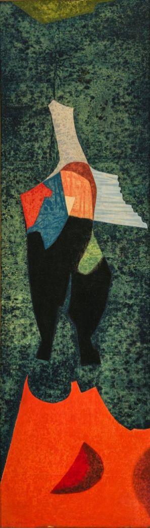 Bálint Endre először 1935-ben látogatott Szentendrére Vajda Lajos és Korniss Dezső meghívására, majd barátságuknak köszönhetően évről-évre visszatért, és a nyaranta a Vajda köré gyűlt szentendrei fiatal művészek csoportjában alkotott. Többször megfordult Párizsban, 1957 és 1961 között Franciaországban élt. Bálint kedvelt, sokat ábrázolt alakja az angyal alakja volt, melyhez az inspirációt egyrészről a temetőkben gyakorta látható kőangyalokból merítette, másrészt gyermekkori élménye, a népligeti vurstli körhintájáról származó harsonázó angyal figurái adták. A valószínűleg Franciaországi tartózkodása alatt készült Angyal című kép jól tükrözi a Bálint egész életművét átjáró kísérteties, fantasztikus de mégis borongós hangulatot. A festmény magányos, kimerevített alakja betölti a kép egészét, az arc hiánya az időn kívüliségét, a klasszikus szobrok töredezettségét idézi.