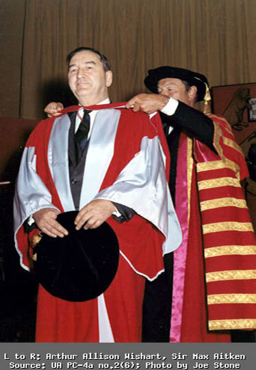 Arthur Wishart at Graduation. Sir Max Aitken in the background. Photo by Joe Stone.