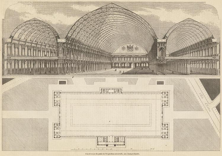 plan et coupe du palais de l exposition universelle aux champs elysees