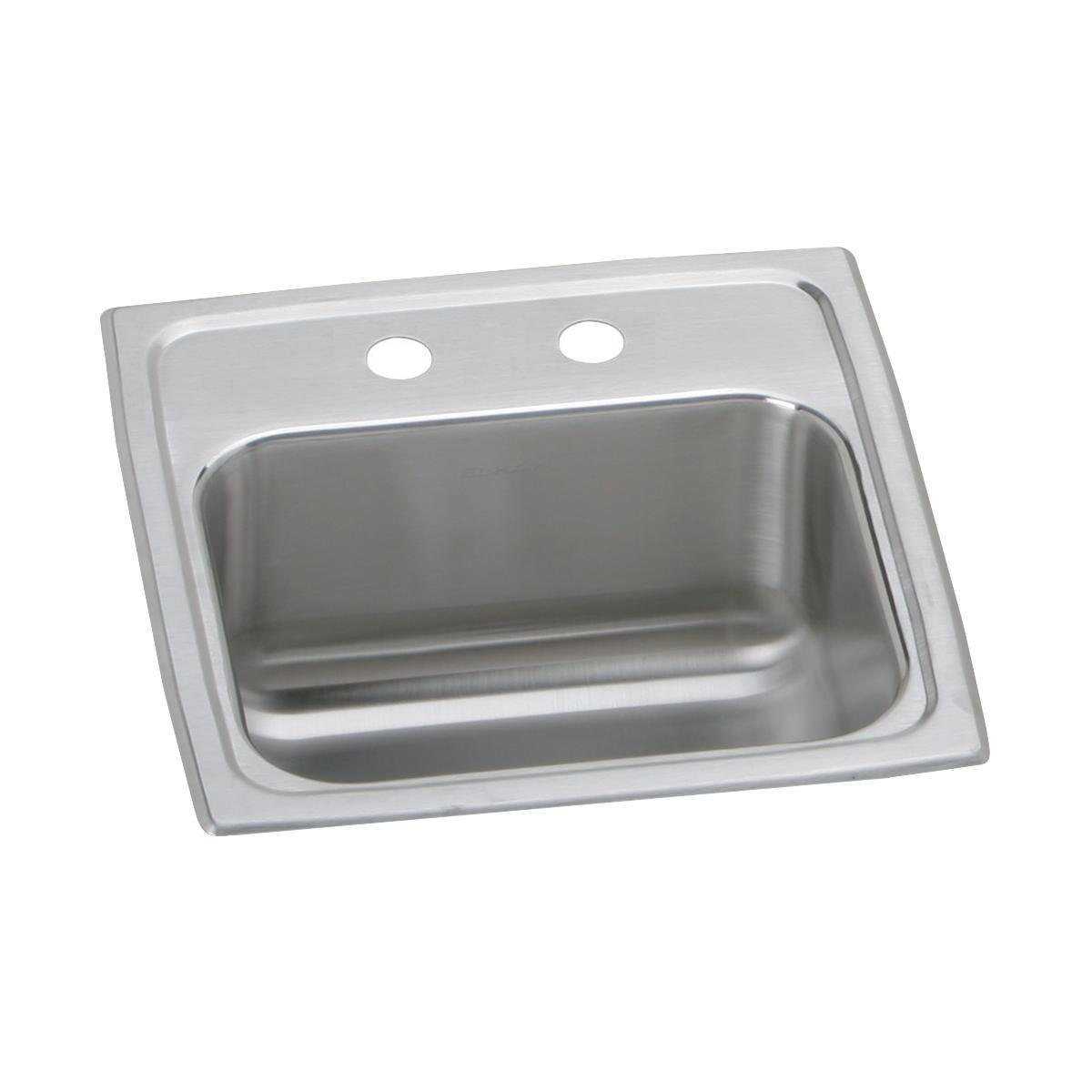 15 x 15 x 6 two hole 20 gauge elkay celebrity hospitality stainless steel bar sink without faucet ledge
