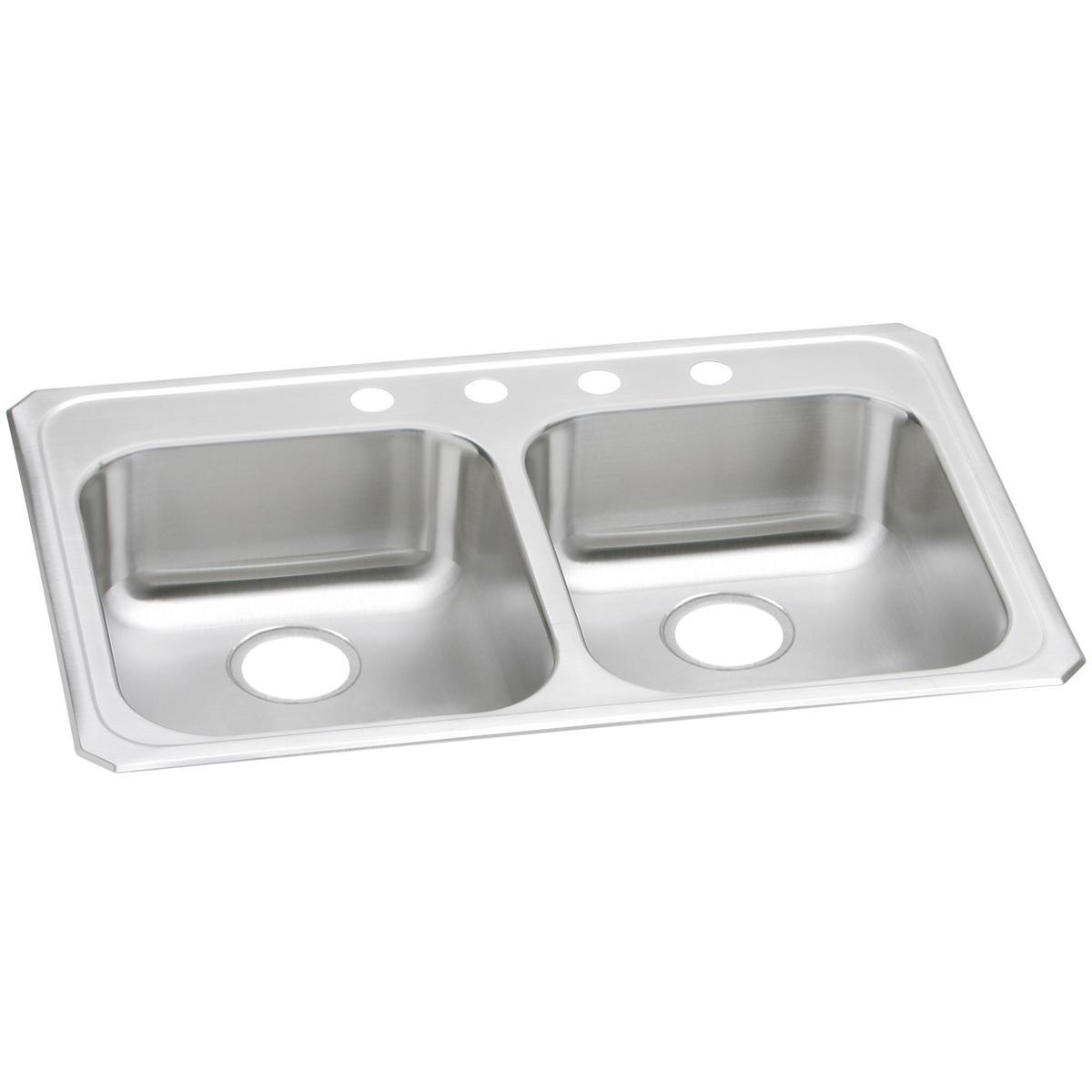 32 x 21 x 5 3 8 three hole 20 gauge elkay celebrity double bowl kitchen sink 3 1 2 drain opening self rimming ada compliant