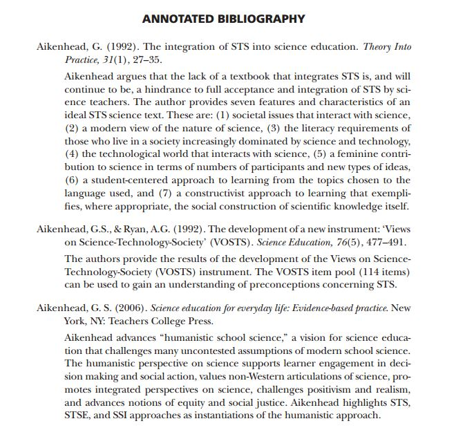 What is actually a particular Annotated Bibliography??