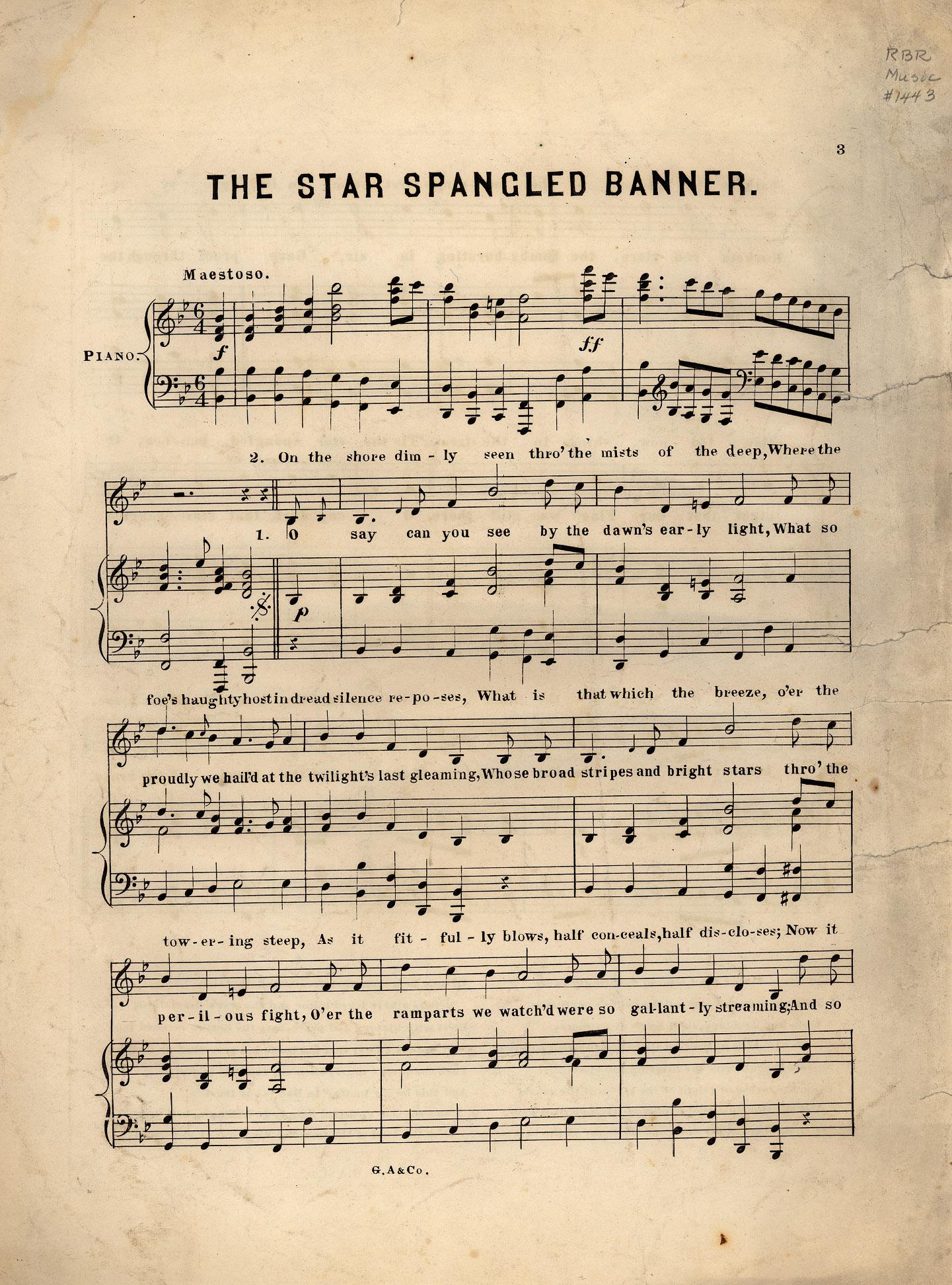 Star Spangled Banner Historic American Sheet Music