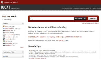 The help guide search bar is on the IUCAT website