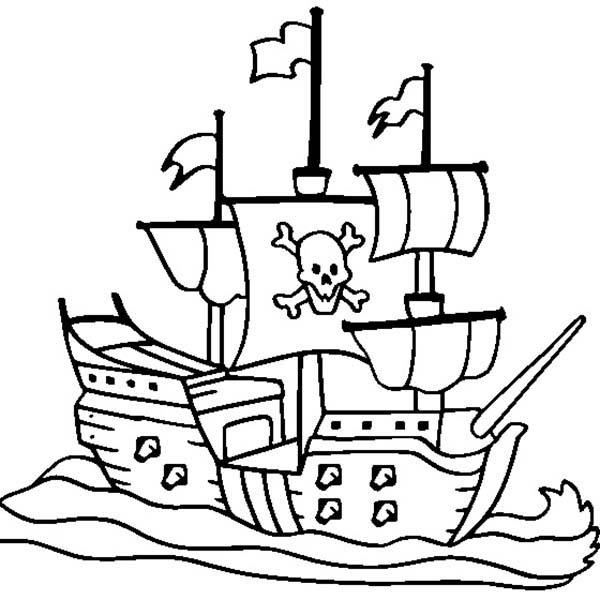 pirate ship coloring pages # 1