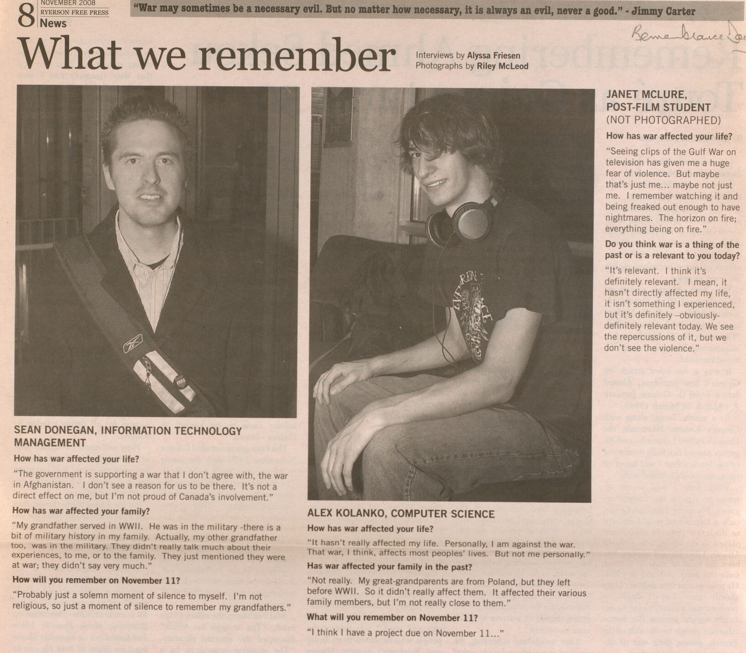 """A newspaper article titled """"What we remember"""" interviewing students perspectives"""