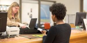 Student borrowing laptop