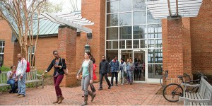 students leaving library