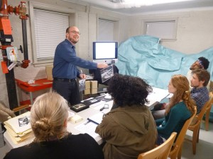 Kent teaching a class in the archives