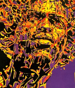 Red, yellow, and black splatter paint type portrait of the head of a black man on purple background