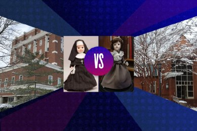 4 images are displayed side by side: the exterior of Roesch Library, a doll dressed as a nun, a doll dressed in a colonial era gray dress, and the exterior of the Library at St. Mary's College of Maryland