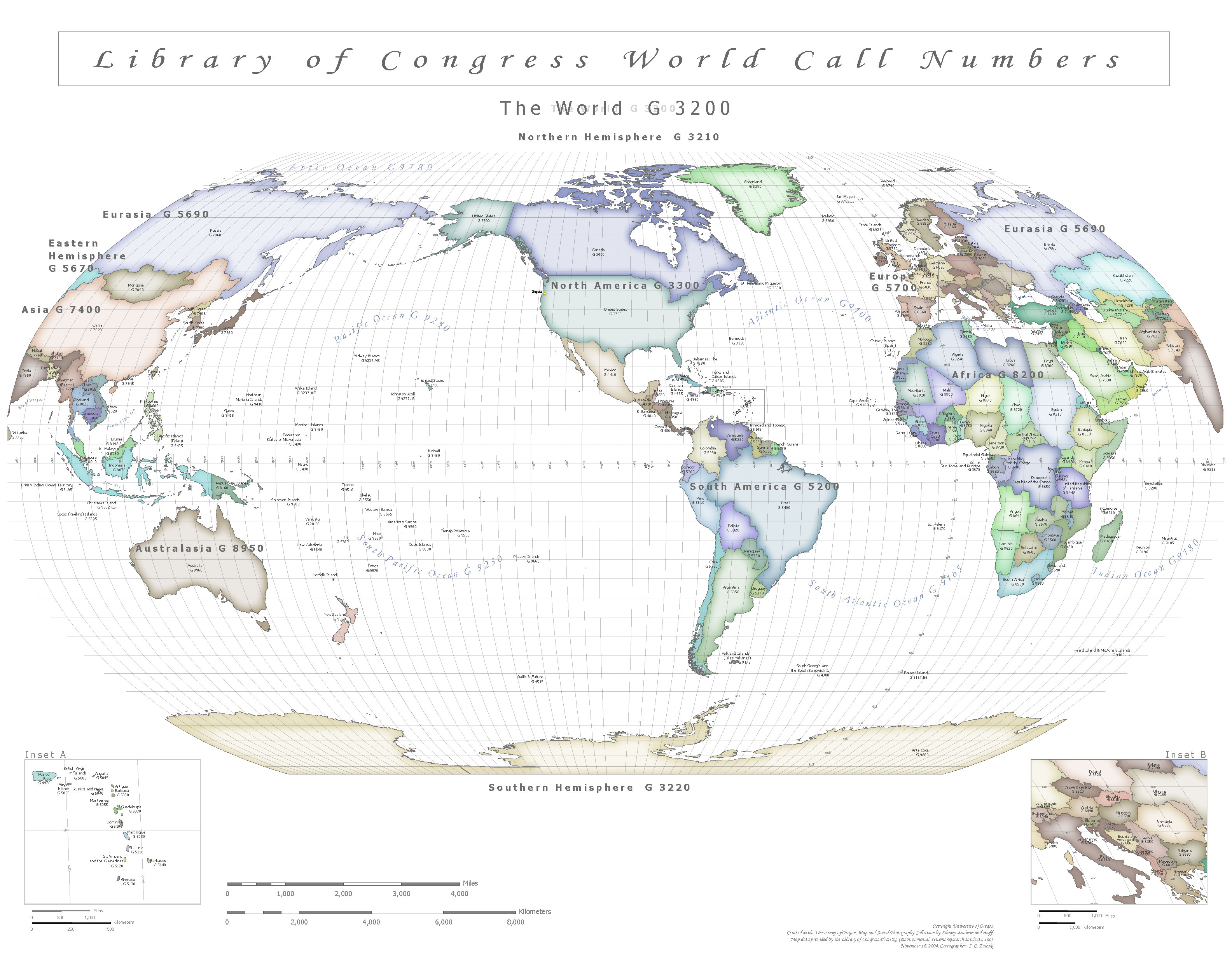 Call Number Map Of The World