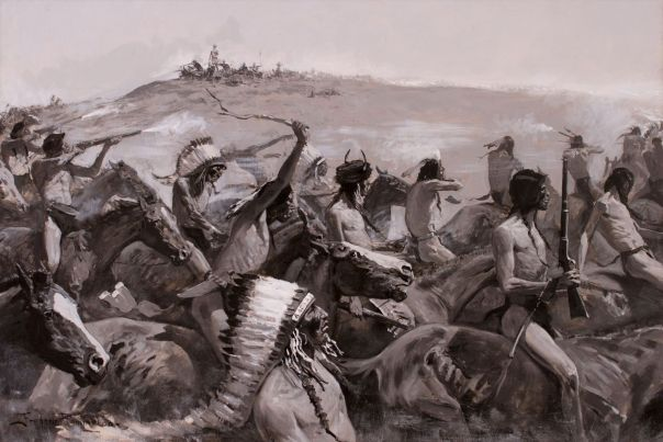 Fight on the Little Bighorn by Frederic Remington. Black/white/grey. The air is filled with smoke. Indians in foreground, some have rifles amd are shooting at soldiers on the ridge where Custer and his men are fighting back. Indians are riding up to the soldiers on the left.
