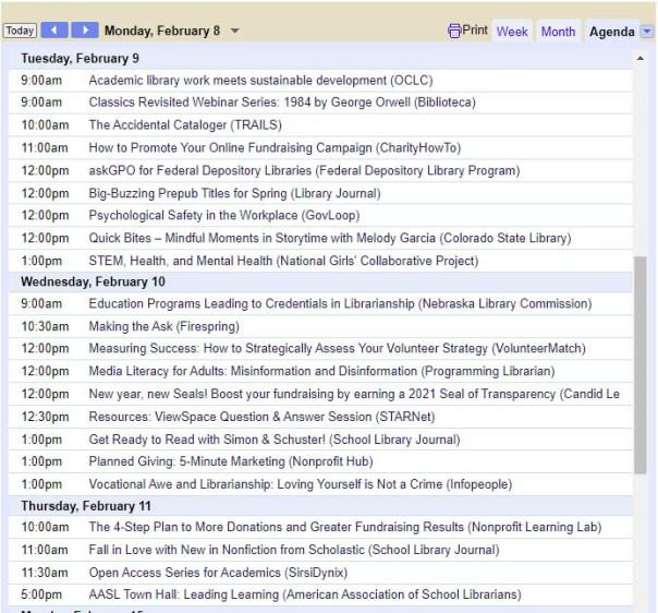 Calendar listings