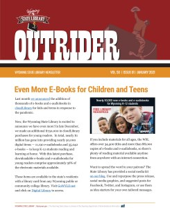 Front page of the Outrider newsletter.