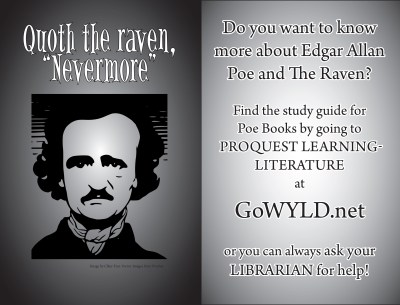 Promotional handout for Edgar Allan Poe resources in Proquest Learning: Literature