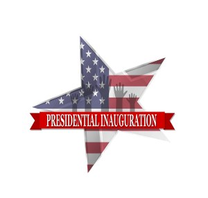 Star with U.S. flag pattern and banner that says Presidential Inauguration