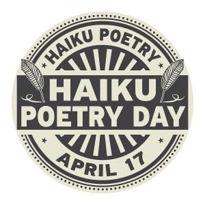 Haiku Poetry Day, April 17, rubber stamp, vector Illustration