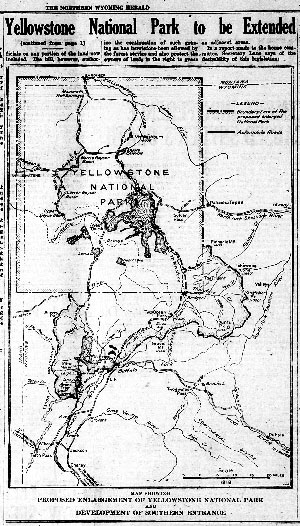 """News clipping with headline that reads, """"Yellowstone National Park to be Extended"""" and map of park"""