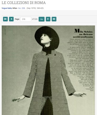 """Title """"Le Collezioni di Roma"""". Magazine image of woman in felt hat and patterned matching long jacket and trousers."""