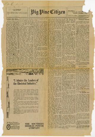 Big Pine Citizen, November 5, 1927