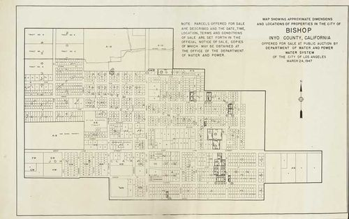 Map of Bishop properties offered for sale at public auction