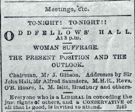 Public notice for a meeting on the present and outlook of woman's suffrage to be held at the Oddfellows Hall, Lichfield Street, Chch.  [20 Oct. 1892]