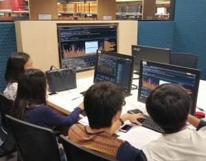 Large screens assist group work in the Investment Studio