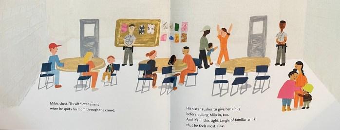 Double-page spread of Milo Imagines the World by Matt de la Peña and Christian Robinson.