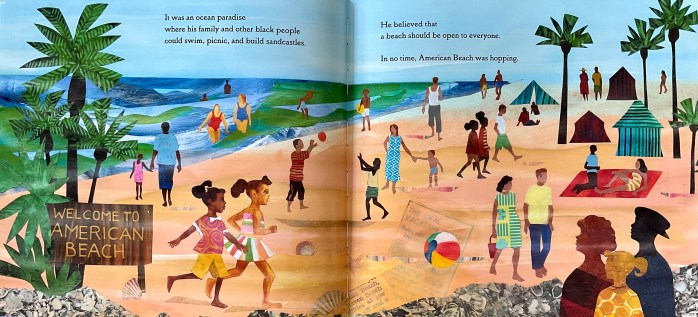 Double-page spread of Saving American Beach: The Biography of African American Environmentalist MaVynee Betsch. The illustration shows people playing on American Beach.