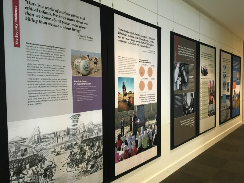 Exhibition panels on wall