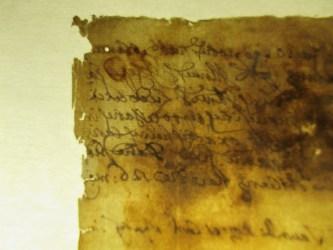 1768 Italian paper manuscript verso corner before repair