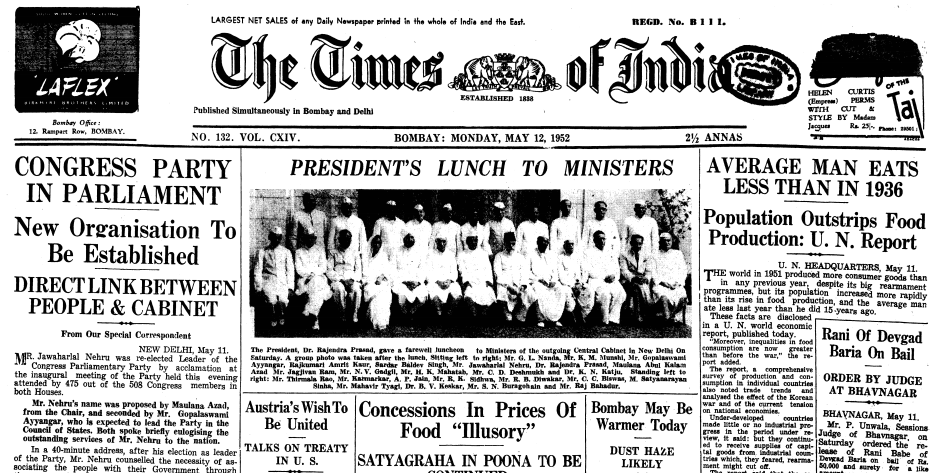 India Times front page May 12 1952