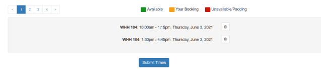 LibCal selected time slots and Submit Times button