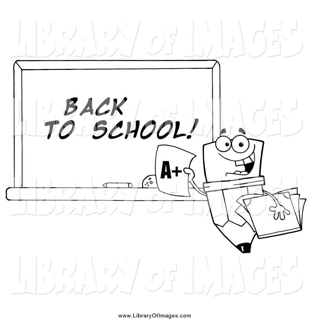 Clip Art Of A Lineart Pencil Character And Back To School