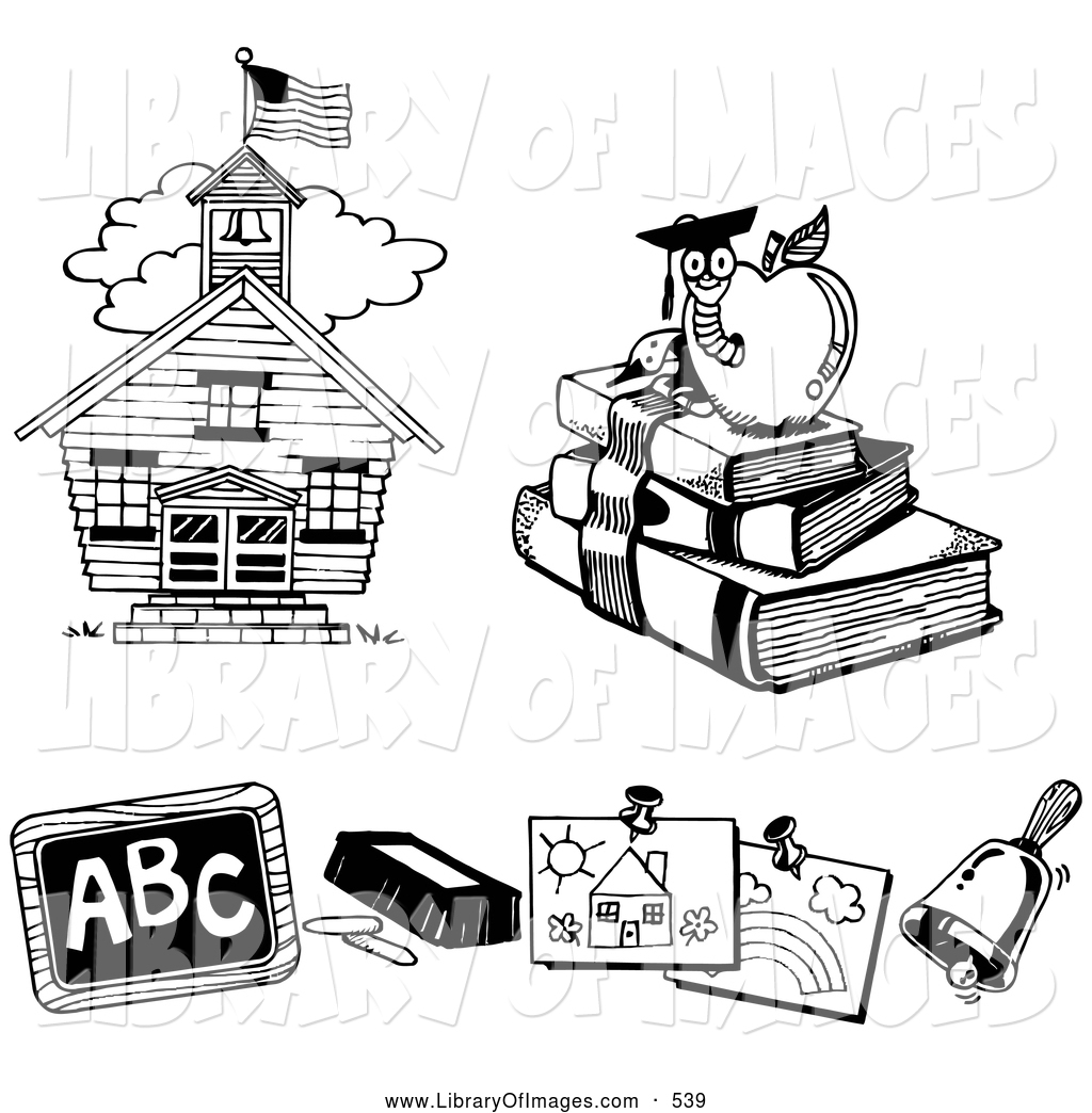 Clip Art Of A Three Black And White Icons Of A School