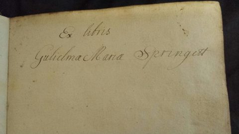 Tract volume 517 flyleaf - ex libris Gulielma Maria Springett