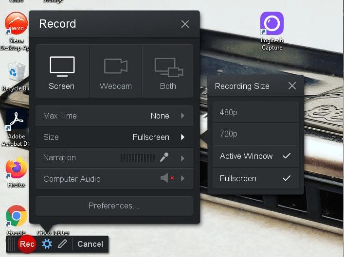 the Fullscreen option in Screencast-o-matic