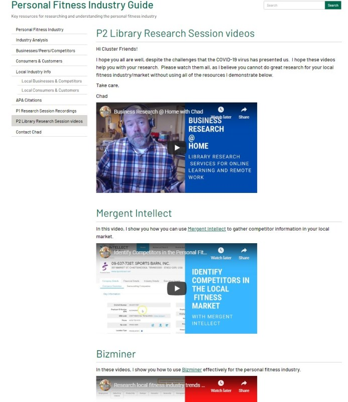 a screenshot of page with instructional videos