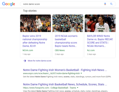 a screenshot of Google search results for the Notre Dame/Baylor Basketball score
