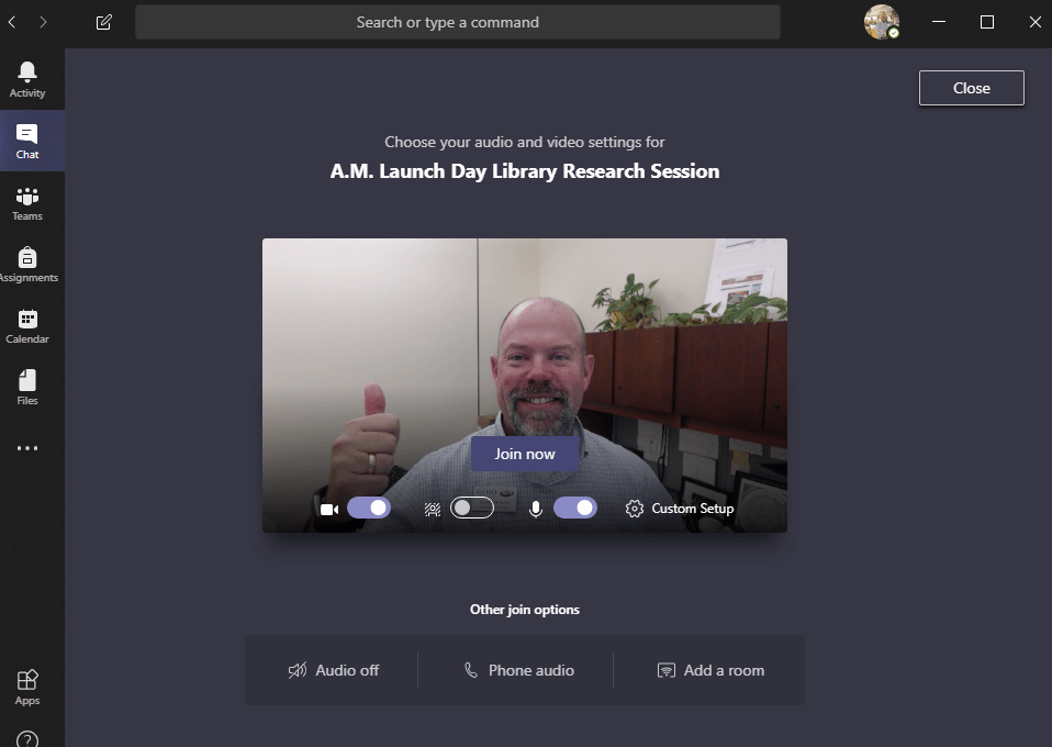 a screenshot of Chad within the Microsoft Teams app