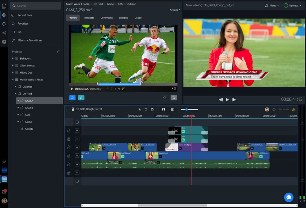 Online video editor, with multiple video tracks and graphics.