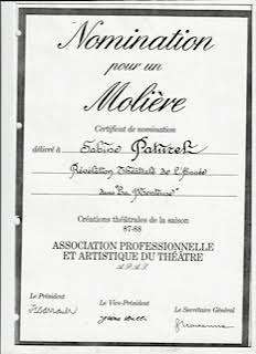 Certificat de nomination aux Molières